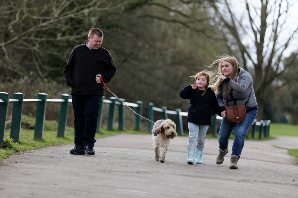 Family walking dog in the park